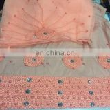 2016 New style indian george lace fabric with bead pearl With blouse