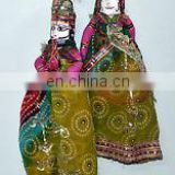 PAIR RAJASTHANI INDIAN EXTRA LARGE PUPPET DECORATIVE HOME DECOR KATHPUTLI HAND MADE DOLL COUPLE HOME DECOR ART ETHNIC DECOR