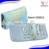 Blue manicure set with coin bag 6 pcs stainless steel ladies manicure set for women