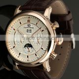 Fashion Moonphase genuine leather strap Automatic Mechanical Mens womens Wrist Watch WM395