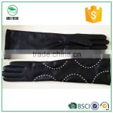 Black Fashion Women's Elbow Length Long Sheepskin Leather Gloves with Belts and Decorations