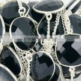 AAA Beautiful Natural Black Onyx Free shape Bezel Continuous Connector Chain 10-15mm In 925 Silver Plated Wire by foot
