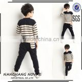 Wholesale Autumn Children'S Designer Striped Suit New Fashion Kids Boys 100% Cotton Long-Sleeve Set Baby Clothes From China