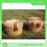 Oval shaped and brown color convenient wicker bicycle basket for travel