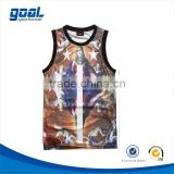 Wholesale 100%polyester breathable latest design customized sublimated basketball singlets