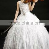 Children Dresses Ostrich Feather Sash Beaded Prom Gown Party Dress PT-264