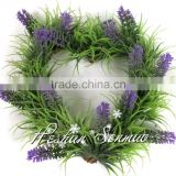 Hot sale articficial lavender christmas circle wall hanging heart-shaped wreath for christmas decorative