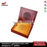 OEM customized coin storage wooden boxes with hinged lids lighter case