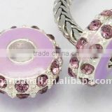 Alloy Rhinestone Beads, Enamel, Platinum Metal Color, Rondelle, Purple, about 14x6.5mm, hole: 5mm(ALRI-B002-10)