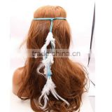 New and fashion Women Double Layers Braided Hairband Colorful Feather Leaf Pendant Head Band