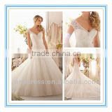 2014 New Fashion Lace Appliques on Tulle Edged with Pearl and Crystal Beading Wedding Gowns for Sale (WDBG-2619)