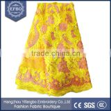 2016 best selling yellow 3d flower laces stock fabric bridal aso ebi nigerian french fabrics african embroidery lace fabric
