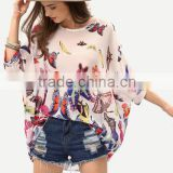 SheIn Images Of Lady Butterfly Print Chiffon Poncho Tops Shirt Blouse                                                                         Quality Choice