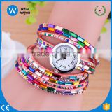 LBW002 Korean Fashion Dress Color Ladies Bracelet Watches Women Relogio Feminino Casual Knit Long Pink Leather Watch