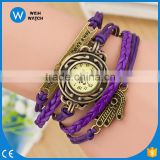 China Cheaper hand Pendant Synthetic Leather Bracelet Vintage Wrist Watch Ladies luxury watches VW011