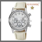 Western Women Watches Diamond Jelly Watch Steel Case White Silk Genuine Leather Chronograph Watch