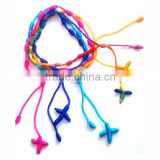 Simple Colorful Tieing Rope Long Tassel Non Clasp Catholic Handmade Knitting Cross Rope Bracelet Halloween Gift For Festival