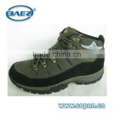 good quality khaki cow suede leather and pu men hiking shoes