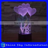 Acrylic Heart balloons shaped 3D LED Night Light Creative Stereoscopic 7 Colors Flashing Touch LED Night Light