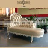 new design antique style pearl genuine leather chaise lounge