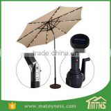 10FT LED Light Tilt Deck Waterproof Garden Market Umbrella Patio Solar Umbrella