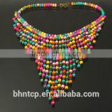 Cheap Ladies Gift Fashion Bohemian Collar Style Colorful Wood Beads Decorated Neck Decoration Jewelry