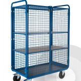 Logistics Roll Cage Trolley Galvanized Steel Wire Mesh Roll Cart