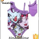 2015 latest summer girls cartoon swimwear children one piece bathing suits kids Swimsuits