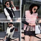 Hot Selling Short Style Fur Tassels Fashion Turkey Feather Vest Lovely Design