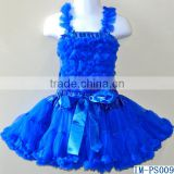 Top Quality Girls Boutique Clothes Baby Blue Tutu Skirts Sets with Chiffon Ruffle Tanks Tops IM-PS009