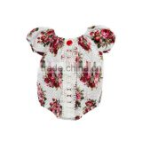 2017 Floral Printed Infant Jumpsuit 100% Cotton Fluffy Sleeve Baby Romper