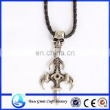 2014 Newest Sterling Silver Skull Pendant Pirate Necklace8794