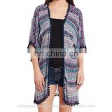 Printed Kimono With Pom Poms In Sleeves And Hem for women