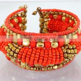 Orange Pearl beaded wholesale Fashion cuff Bracelets-Indian imitation costume cuff bracelet-party wear cuff bracelet