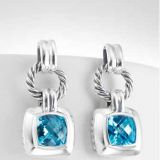 Sterling Silver Jewelry Blue Topaz Cushion Earrings(E-024)