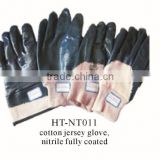 wholesale cotton jersey liner nitrile gloves with factory selling price/ cheap nitrile gloves for hand protection