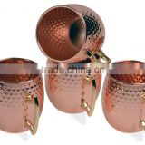 Set of 4 pcs Copper Plated Stainless Steel Moscow Mule Mugs with Brass Handle, Copper Plated Moscow Mule Mugs
