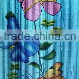 High quality best selling Bamboo Door Curtain with Butterflies on blue Background in Viet Nam