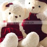 Plush Toy Couple White Bears in Dark Red Cloth/Soft Big Bear Toy Total Length 100cm/Soft Stuffed Bear Valentine Gift