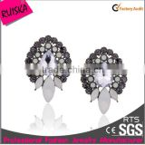 Newest Arrival Fashion Bulk Wholesale Pretty Cheap Earrings With Colored Rhinestone Opal Stone