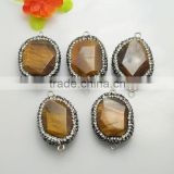 LFD-0074B Wholesale Nature Tiger's-eye Beads,with Crystal Rhinestone Paved Druzy Tiger's-eye Gem stone Connector Beads