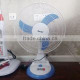 16 inch colored electric desk top table fan with 6 LED emergency light and 12v rechargeable battery for home use
