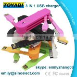 Multi color swiss army knife USB Cable Charging And Data Transfer with multi port Set skype emilyzhang08
