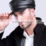 NEW 2015 men's Fashion four seasons unisex flat top genuine sheep leather hat cap in black