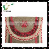 Embroidery Paper And Sea Grass Straw Beach Bags Clutch Bag                                                                         Quality Choice