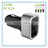 hot sale oem black and white with colorful aluminum ring led 3 port 5v 5.2a Travel Adaptor with LED
