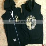 Sleevless Blank Hoodies Wholesale Men Black Hoodies With Hood Polyester Sleeveless Hoodies