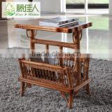 Traditional Unique Design Round Square Wicker Hand Woven Rattan Cane Wood Side Corner Book Magazine Table