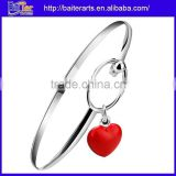 New Cute 925 Sterling Silver Plated Copper Heart Charm Bangle Bracelet For Girl