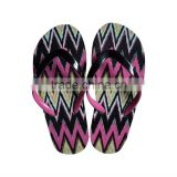 2013 New beauful design well sale cheap women's flip flops/women's slippers with print pattern insole & 2 color upper(HG13024C